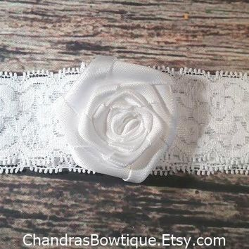 White Rosette on White Lace Headband / White Headband / Baby Headband/ Baby Girl Headband / Baby Hair Bows / Girls Headbands/ Baby Bows