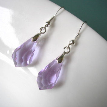 Briolette Teardrop Earrings Sterling Silver Glass Dangle Amethyst Purple Bridal Crystal Drop Rainbow 13 COLORS