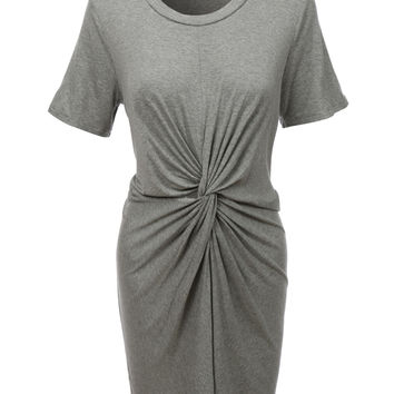 LE3NO Womens Short Sleeve Loose Fit Knotted Mini Dress (CLEARANCE)