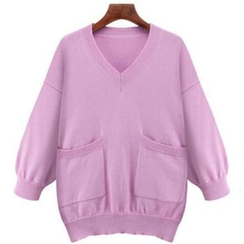 Pink Plain Pockets Casual V-neck 3/4 Sleeve Loose Plus Size Pullover Sweater