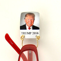 Trump Wearing a Red Tie Magnetic Eyeglass Holder