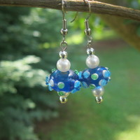 Blue Lampwork Earrings - Handmade Jewelry by Steampunk Beadery