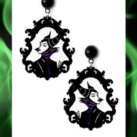 Gothic victorian spooky earrings 'Maleficent' disney witch villains halloween