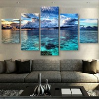 Calm Clear Water Sky canvas panel wall art print 5 panel Framed UNframed 40""