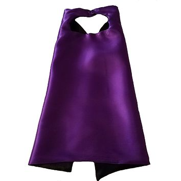 Plain Purple and Black Reversible Superhero Cape