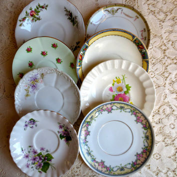 Set of 8 Mismatched China Saucers/Small plates - Bridal Shower, Tea Party, Wedding Decor, Floral Plates.  China Set.  Plate Set