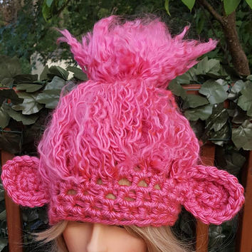 Crochet pink troll hat. Animal Hat. Made by Bead gs on etsy. Fits 4 years and up size.