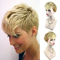 Women Short Gold Yellow Front Curly Hairstyle Synthetic Hair Wigs For Gold Styling Accessory #01
