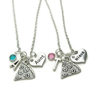 2 Aunt And Nieces Necklaces, Aunt And Nieces Pizza Necklaces, Aunt And Nieces Necklaces, Necklace For Aunt, Necklace For  Niece,Personalized