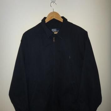 Vintage Polo By Ralph Lauren Jacket Harrington Cotton Jacket Pony Men Fishing Hunting