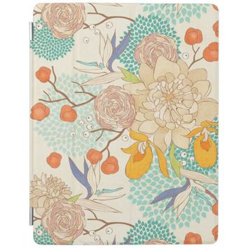 Modern Rose Peony Flower Pattern iPad Cover