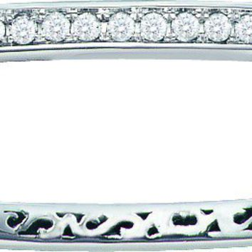 14kt White Gold Womens Round Diamond Classic Single Row Bangle Bracelet 1.00 Cttw
