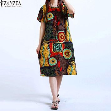 M-5XL ZANZEA Womens O Neck Floral Print Short Sleeve Cotton Linen Casual Knee Length Dress Baggy Boho Tunic Kaftan Plus Size