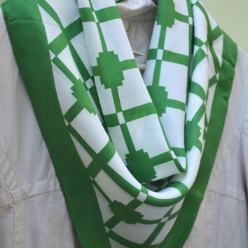 Vintage Scarf, Kelly Green and White Lattice Pattern , 1970s Silk Scarf