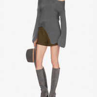 Joseph Off The Shoulder Asymmetric Ribbed Sweater at INTERMIX | Shop Now | Shop IntermixOnline.com