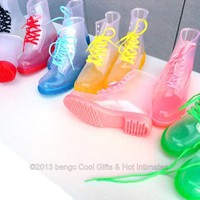 Clear Rain Boots Color Soles or Solid Jelly Shoes Lace Up Waterproof Transparent