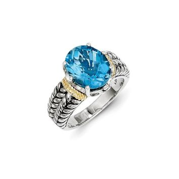 Antique Style Sterling Silver with 14k Yellow Gold 4.80 Swiss Blue Topaz Ring