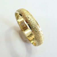 Gold wedding band men and women 4mm wide domed with deep rough sandblast finish