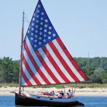 "Patriotic sailboat ""Nantucket"" at Martha's Vineyard, Massachusetts, 8x10 print in 11x14 signed mat"