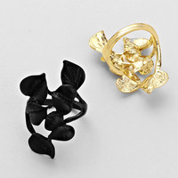Gold & Black Floral Twirl Bundle Rings (12 Pieces)