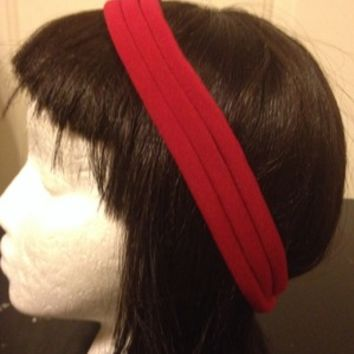 Red three piece strand headband-No Slide Headband from Nicole Ray