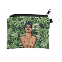 Women weed lady Coin Purses Cute Girl Mini Bag Key Ring Case Zipper Wallet Lovel