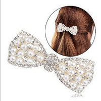 Cheap New Cute Bow Crystal Pearl Barrettes Hair Clip Hairpin Headwear for Women Fashion Hair Jewelry Accessories