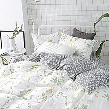 Karever Botanical Duvet Cover Set, 100% Cotton Bedding set, Yellow Flowers and Green Leaves Floral Garden Pattern Printed on White (3pcs, Queen Size)