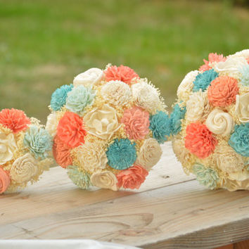 Small Wedding Bouquet Ivory Lt. Blue, Aqua, Coral and Peach Sola Flowers and dried Flowers Bridesmaid Keepsake