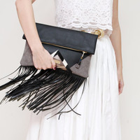 CARRIER 44  / Large leather fringed  fold over daily clutch bag -  Ready to Ship