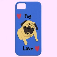 Cute Pug Love Dog iPhone 5 Cases from Zazzle.com
