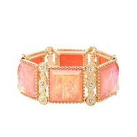 Opalescent Stone Stretch Bracelet by Charlotte Russe - Gold
