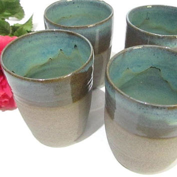 Tumbler, Beaker, Drinking cup, Water Cup, Japanese Style Tea Cup, Handmade Pottery Grey Stoneware, Turquoise Green Glaze