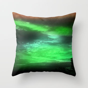 Green and Burnt Orange Sky Throw Pillow by Jenartanddesign