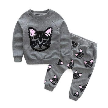 US 2017 New Autumn Winter Baby Kids Clothes Suit Clothes Long Sleeve Cartoon Cats Print Tracksuit +Cute Cats Pants Outfits Set