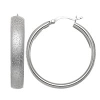 Sterling Silver Rhodium Plated With Brushed Diamond Dust Finish Domed Tube Round Hoop Earrings