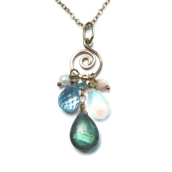 Multi Gemstone Cluster Pendant Necklace - Genuine Blue Topaz Labradorite Moonstone Pearl Necklace - Boho Mermaid - Beachy Goddess