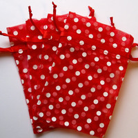 Set of 20 Red with White Polka Dot (4x6) Organza Bags