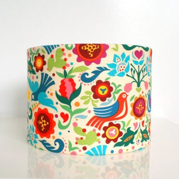 Fabric lampshade drum - multi coloured designer bird fabric light shade, table lamp shade gift for her