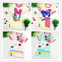 Girls Dress Hot Spring and Summer New Children Pajamas Cotton Short Sleeve Dress Cute Carton Sprinting Sweet Soft Big Kids Clothing Sleepwea