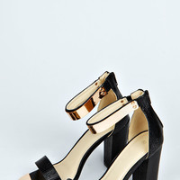 Fifi Mock Croc Metallic Trim Ankle Strap Block Heels