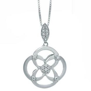 Silver Pendant with 0.12 cttw Diamonds with Box Chain