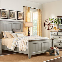 Cottage Town Gray 7 Pc Queen Panel Bedroom - Bedroom Sets Colors