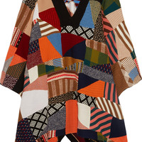 Chloé - Patchwork wool and silk-blend poncho