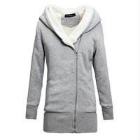 2017 New Womens Hoodies Overcoat Winter Warm Fleece Coat Zip Up Outerwear Hooded Sweatshirts Long Jacket Parka