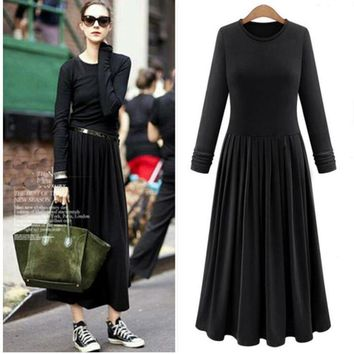 Nice knitted women's pleated dress vintage Autumn long sleeve maxi dresses,plus size candy color dress,comfortable & elegant 6xl