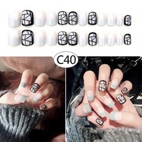 24 Pcs/Set Women Lady 3D Fake Nails With Glue Middle-Long Full Wrapped Tips Bride Artificial False Nail 2018 Hot Selling HB88