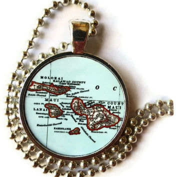 Maui Islands Map Necklace Pendant Charm, Molokai, Lanai, Hawaiian Jewelry, Maui necklace