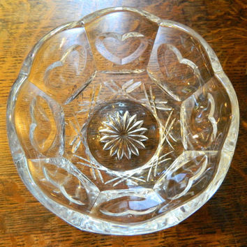 Vintage Glass Bowl with Scalloped Edges and Inset Heart Design - Beautiful Candy Dish or Short Vase