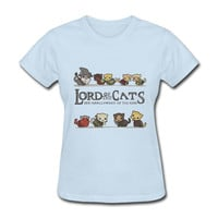 Lord of the Rings Women's T-Shirt Lord of the Cats, The Furrlowship of the Ring LOTR Graphic Funny Parody Shirt Tee